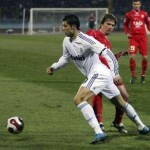 Taci Oil Cup friendly match; Gramozi 1-2 Real Madrid: Cristiano Ronaldo running around with the ball.