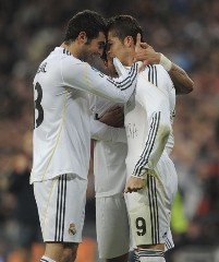 La Liga; Real Madrid 6-2 Villarreal: Cristiano Ronaldo celebrates with the resto of his team mates after opening the scoring sheet with a free-kick.