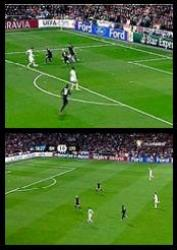 UEFA Champions League: Real Madrid 1-1 Lyon - (Top) Gonzalo Higuain dribbles in the box and decides to go for goal instead of squaring the ball to the unmarked Ronaldo. (Down) Gonzalo Higuain counter attacks for Real Madrid and prefers to dribble forward instead of passing a long ball to the unmarked Ronaldo who is waving his hand on the right hand side of the field.