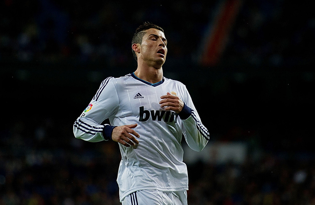 Cristiano Ronaldo of Real Madrid CF reacts after a missed opportunity during the La Liga match between Real Madrid CF and RCD Mallorca at Santiago Bernabeu Stadium on March 16, 2013 in Madrid, Spain.