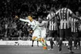 Cristiano Ronaldo of Real Madrid CF celebrates scoring their first goal during the Copa del Rey Final match between Real Madrid CF and Club Atletico de Madrid at Estadio Santiago Bernabeu on May 17, 2013 in Madrid, Spain. (Photo by Gonzalo Arroyo/ Getty Images)