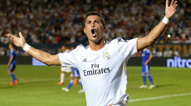 Cristiano Ronaldo #7 of Real Madrid celebrates a goal during International Champions Cup Championship match against Chelsea at Sun Life Stadium on August 7, 2013 in Miami Gardens, Florida.